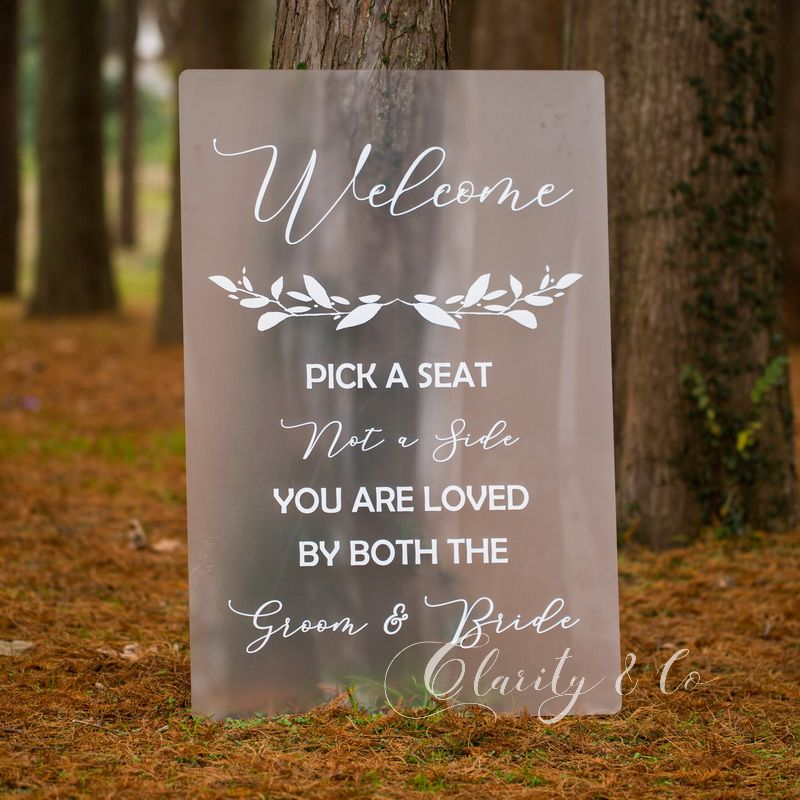 Welcome Wedding Sign Wedding Welcome Sign Seating Sign Wedding Signage Gold Foil Print Pick a Seat Not a Side Sign Choose a Seat Sign