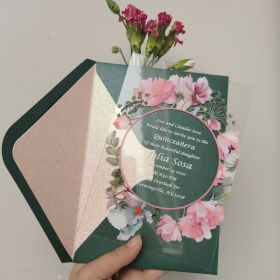 Greenery And Pink Floral Wreath Acrylic Glass Wedding Invitations CA032
