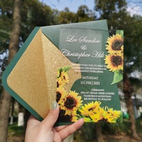 1mm Sunflower Rustic Acrylic Wedding Invitations CAX023