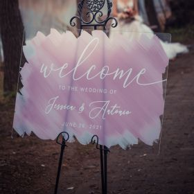 Water Color Painting Acrylic Wedding Welcome Sign Brushed Back CS045