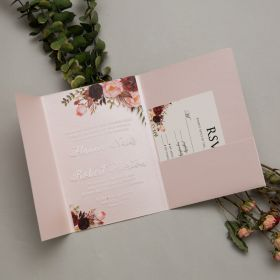 "Burgundy Blush .04"" Clear Acrylic Wedding Invitation With Blush Pocket CAPL022-1"
