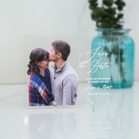 classic Acrylic Save the Date Card with kissing in love photo CSTD004