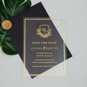 Luxury Monogram Gold Acrylic Save the Date Cards CSTD001