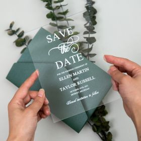 Simple White Calligraphy Acrylic Save the Date Cards CSTD002