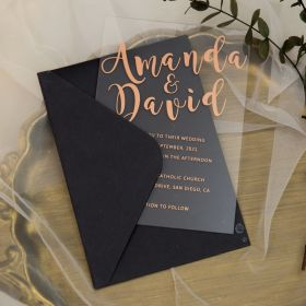 rose gold Big name modern Acrylic Wedding Invitations CAX056