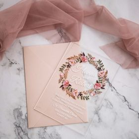 ".04"" Rustic Dusty Rose Floral Acrylic Wedding Invitations CAX030"