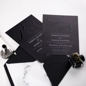 Modern and Elegant Monogram UV Printing Invitations CUI005