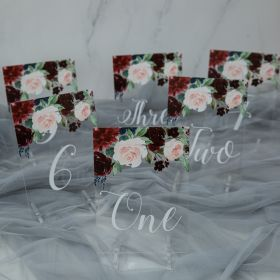 Acrylic Wedding Table Numbers amazing Burgundy and Ivory Floral CT005