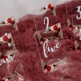 Acrylic Wedding Table Numbers Burgundy and Blush Floral CT001
