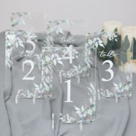 Acrylic Wedding Table Numbers Chic green Leaves CT014