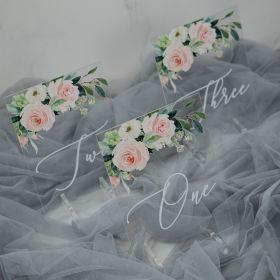 Acrylic Wedding Table Numbers Elegant Greenery Pink Rosa Deco CT009