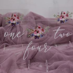 Acrylic Wedding Table Numbers purple and pink Floral CT003