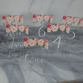 Acrylic Wedding Table Numbers Spring Blush PInk Floral CT002