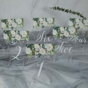 Acrylic Wedding Table Numbers Spring Greenery & White Floral CT006