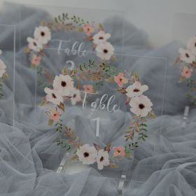 Acrylic Wedding Table Numbers White romantic Flower Wreath CT004