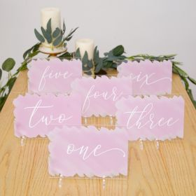 Acrylic Wedding Table Numbers With Painted Backs CT011