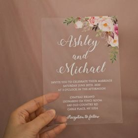 Affordable Floral Pink Acrylic Wedding Invitations CAX005