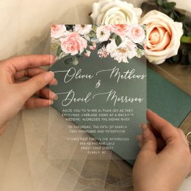 Blush Dusty Rose Floral Acrylic Glass Wedding Invitations CA044
