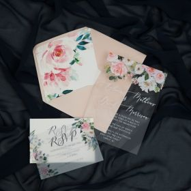 Blush Floral Acrylic Wedding Invitations with envelope liner CAEL004