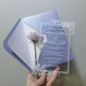 ".04"" Budget Friendly Flower Border Acrylic Wedding Invitations CAX004"