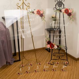 Burgundy Acrylic Wedding Sign Package - welcome signs & seating chart CSP008
