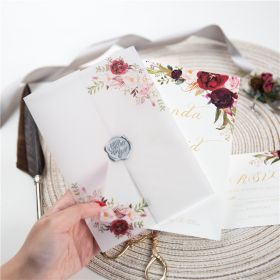 burgundy floral wedding invitations with matching vellum paper wrap and wax seal CDI015