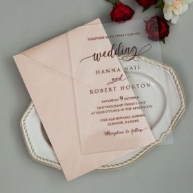 Burgundy modern Clear Acrylic Wedding Invitations CAX055