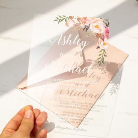 CAX005 Affordable Floral Pink Acrylic Wedding Invitations