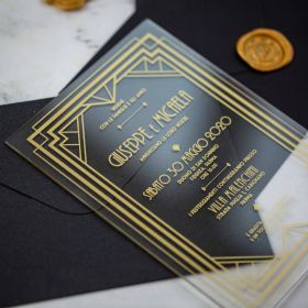Gold Foiled Acrylic Geometric Wedding Invitations CA010 1