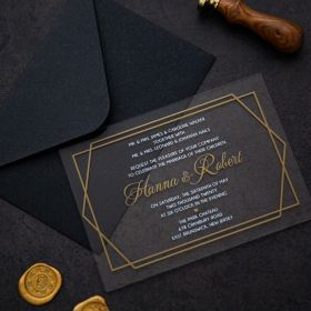 Chic Gold Foiled Geometric Acrylic Wedding Invitations CA025