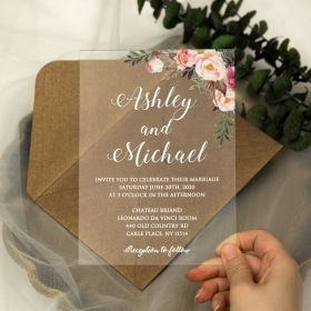 Chic Pink Floral Acrylic Wedding Invitations with White Printing CA005