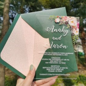 Affordable Floral Pink .04″  Acrylic Wedding Invitations CAX005