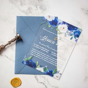 Classic Blue and Blush Floral Acrylic Wedding Invitations CA016 2