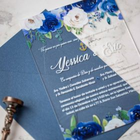 Classic Blue and Blush Floral Acrylic Wedding Invitations CA016