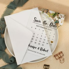 Classic green white floral  Acrylic Save the Date Cards CSTD005