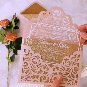 Clear Acrylic Wedding Invitation with Blush Pink Laser Cut Pocket CAPL003