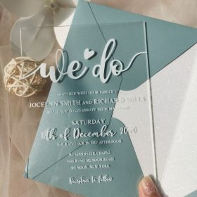 Creative Modern We Do Acrylic Wedding Invitations CA051 with dusty blue envelope