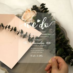 Creative Modern We Do Acrylic Wedding Invitations CA051