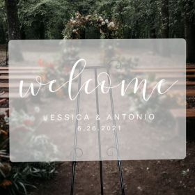 Custom Wedding Signs-White Simple Frosted Acrylic Wedding Welcome Signs CS037