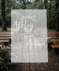 Custom Wedding Signs-White Simple Frosted Acrylic Wedding Welcome Signs CS038