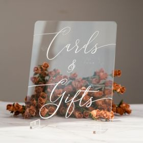 """Clear Acrylic Wedding Cards  & Gifts Sign 8x10"""" Table Sign CSX003"""