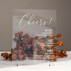 """Clear Cheers Drink Sign 8x10"""" Acrylic Wedding Signs for Table CSX008"""