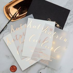 Custom Calligraphy Rose gold/Gold/Sliver Foil Wedding Invitations CFI002