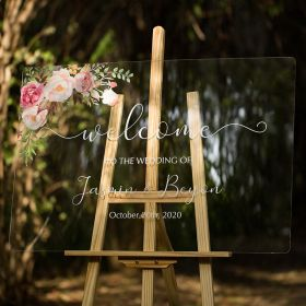 Custom Wedding Signs- Pink and Blush Floral Acrylic Welcome Sign CS014