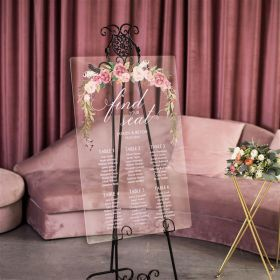 Custom Wedding Signs-Rural Blush Pink Rose and Feather Floral Acrylic Seating Chart CS025