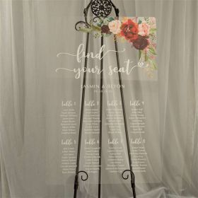 Custom Wedding Signs-Rustic Burgundy and Blush Pink Floral Acrylic Seating Chart CS027