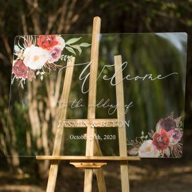 Custom Wedding Signs-Burgundy and Blush Pink Floral Acrylic Welcome Sign CS009