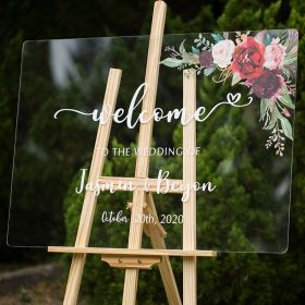 Custom Wedding Signs-Burgundy and Blush Pink Floral Acrylic Welcome Sign CS010
