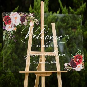 Custom Wedding Signs-Burgundy and Blush Pink Floral Acrylic Welcome Sign CS015
