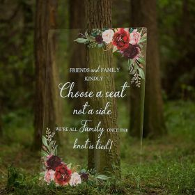 Custom Wedding Signs-Burgundy and Blush Pink Floral Acrylic Welcome Sign CS018